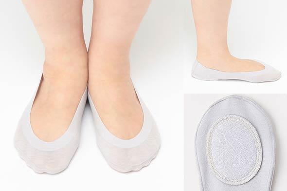 かかと滑り止め付き-綿混浅履きフットカバー