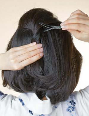 大人 ゆかた髪型 ミディアム セット2