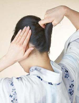 大人 ゆかた髪型 ミディアム セット3