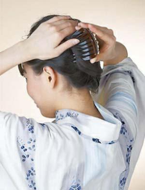 大人 ゆかた髪型 ミディアム セット4