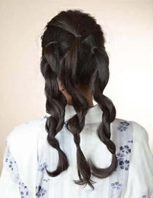 浴衣ロング髪型 セット3