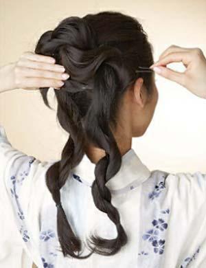 浴衣ロング髪型 セット4