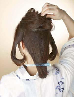 ゆかた髪型 ミディアム セット