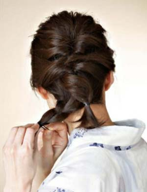 ゆかた髪型 ミディアム セット4