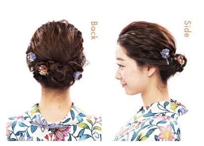 ゆかた髪型 ミディアム2