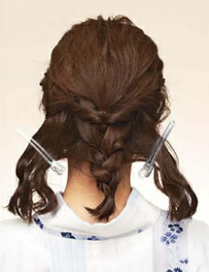 ゆかた髪型 ミディアム セット3