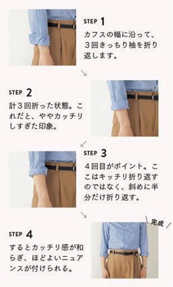 シャツ 袖まくり方法